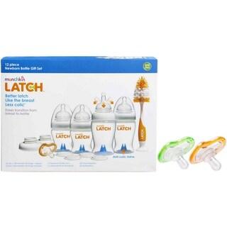 Munchkin Latch Newborn Bottle 12 Piece Gift Set with 0+ Month Pacifier Set - Green/Orange