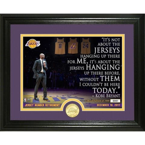 "Kobe Bryant Jersey Number Retirement Ceremony ""Quote"" Photo Mint - Multi-color"