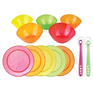 Munchkin 5 Pack Multi Bowl with 2 Pack Silicone Spoons and 5 Pack Multi Plates