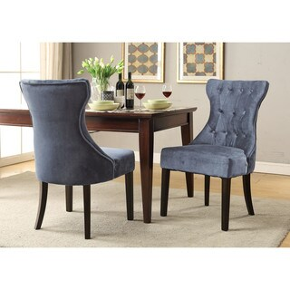 Chic Home Bronte Velvet Modern Contemporary Button Tufted Tapered Rubberwood Legs Dining Chair
