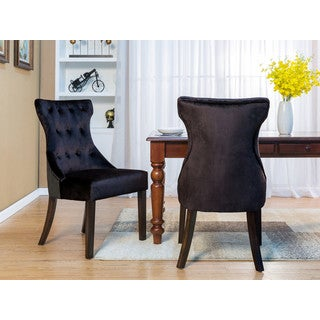 Chic Home Bronte Dining Side Chair Button Tufted Velvet Espresso Wood Legs Set of 2