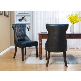 Chic Home Bronte Dining Side Chair Button Tufted PU Leather Espresso Wood Legs, Set of 2