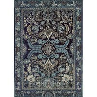 Lyke Home Storm Blue Olefin Persian-inspired Rug - 8' x 10'