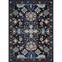 Lyke Home Persian-inspired Storm Blue Viscose/Olefin Rug - 8' x 10'