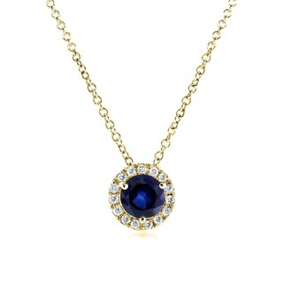 Annello by Kobelli 14k Yellow Gold 4/5 Carat TGW Round Blue Sapphire and Diamond Necklace