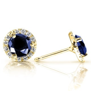 Blue Sapphire and Diamond Halo Stud Earrings 1 1/2 Carat TW 14k Yellow Gold