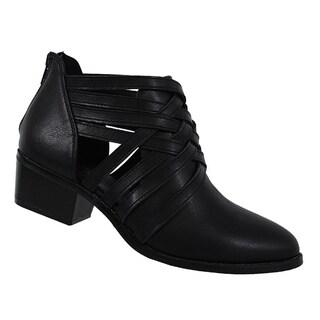 Yoki FP57 Women's Strappy Cut Out Back Zipper Block Heel Ankle Booties