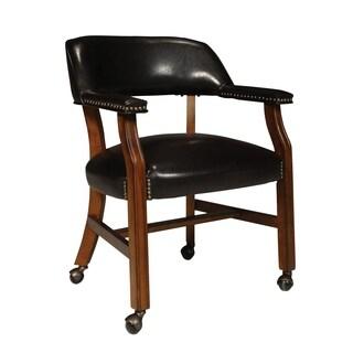 Dark Brown Vinyl Upholstered Caster Chair - N/A