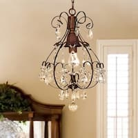 Copper Grove Lutea Brushed Oak 1-light Teardrop Crystal Chandelier