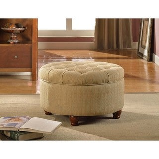 Link to Copper Grove Moses Tan and Cream Tweed Tufted Storage Ottoman Similar Items in Living Room Furniture
