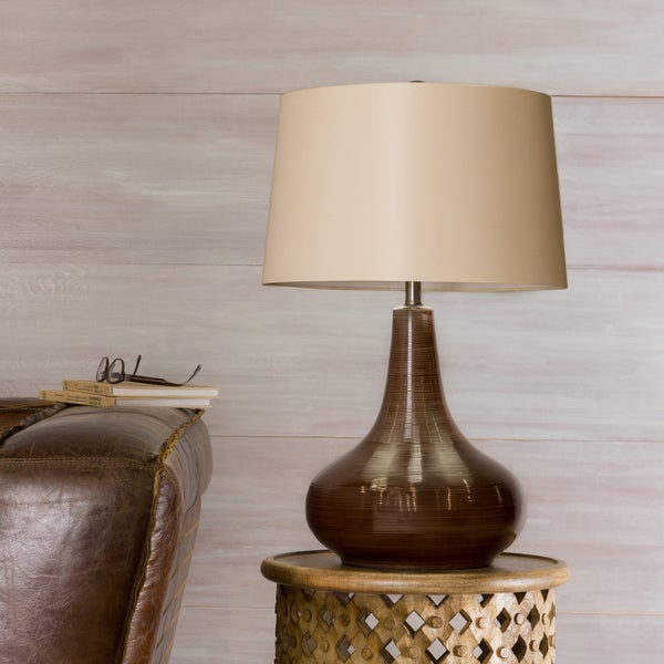 Palm Canyon Sienna Gourd Ceramic 1-light Chocolate Table Lamp