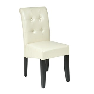 Metro Eco Leather Parson's Chair with Button Back and Espresso Finish Legs