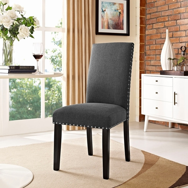 Porch & Den Felix Upholstered Grey and Beige Dining Chair. Opens flyout.