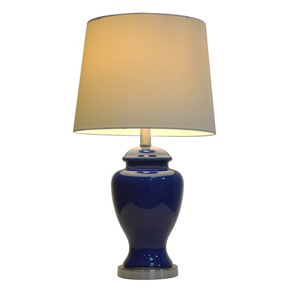 Laurel Creek Linden 24-inch Blue Ceramic Table Lamp
