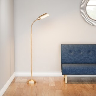Palm Canyon Sunnyslope Honey Brass Hartley Task Floor Lamp