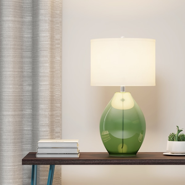Shop Carson Carrington Sjundea 1 Light Green Glass Table Lamp On