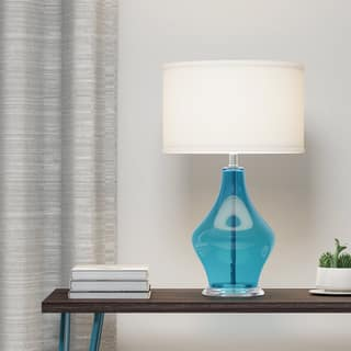Shop Kichler Lighting 1 Light Light Blue Glass Table Lamp On Sale