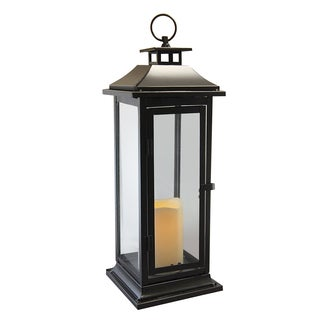 Copper Grove Roserim Traditional Black Metal Lantern with Battery Operated LED Candle and Timer