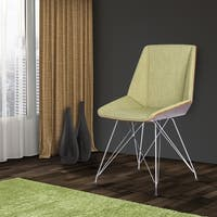 Palm Canyon Malibu Chair in Chrome Finish with Walnut Wood and Fabric Upholstery
