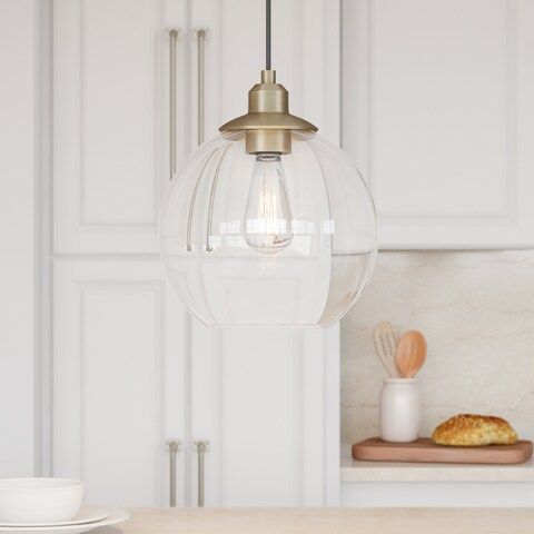 Carson Carrington Sogndal Antique Brass and Clear Glass 11-inch Orb Pendant Light