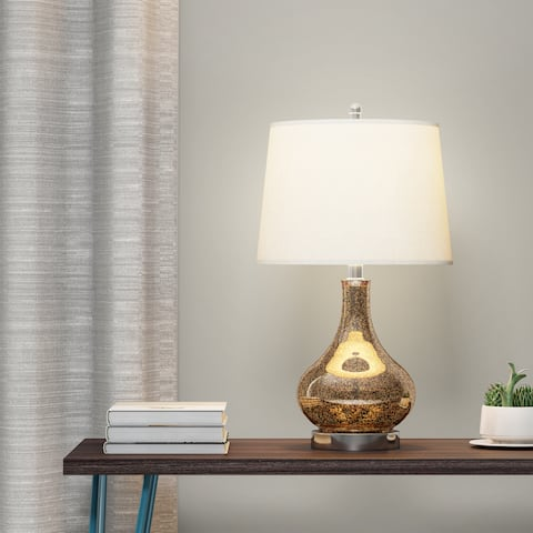Carson Carrington Soro Gold Mercury Glass and Beige Linen Drum Shade 24-Inch Gourd Table Lamp
