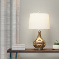 Palm Canyon Escena Gold Mercury Glass and Beige Linen Drum Shade 24-Inch Gourd Table Lamp