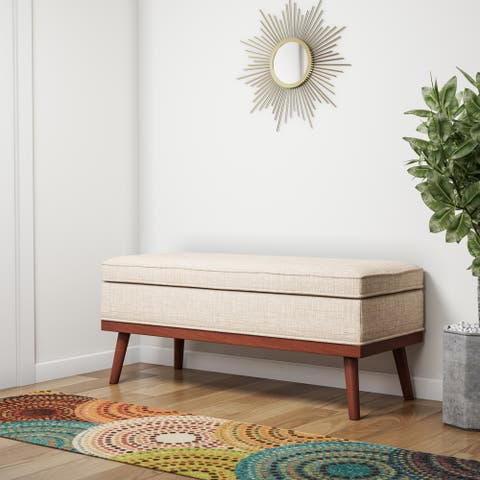 Carson Carrington Sastamala Mid-century Storage Bench