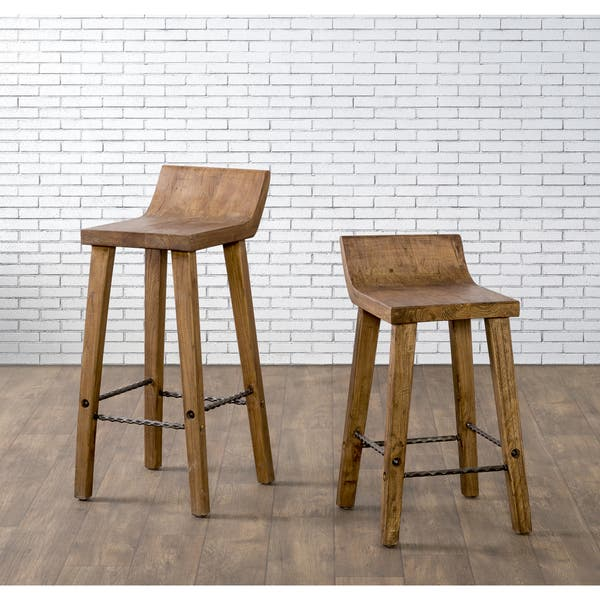 Superb Shop The Gray Barn Gold Creek Natural Elmwood Counter Stool Dailytribune Chair Design For Home Dailytribuneorg
