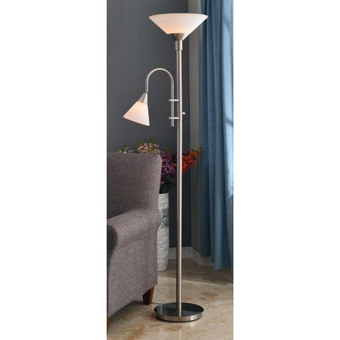 Porch & Den Nottingham Brushed Steel Torchiere with Reading Arm