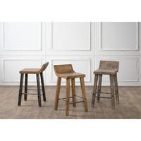 The Gray Barn Gold Creek Natural Low-back Wood Counter Stool