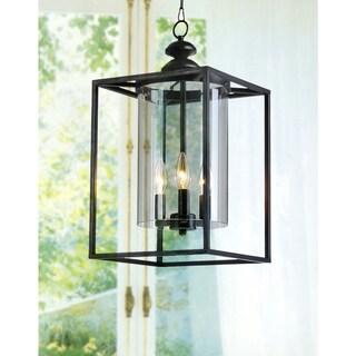 La Pedriza Antique Black 3-light Glass and Metal Chandelier