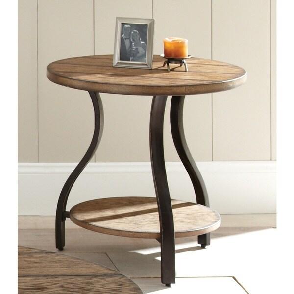 The Gray Barn Buffalo Horn Wood and Metal End Table