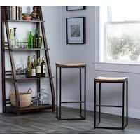 Carbon Loft Richard Wood and Iron Backless Bar Stool