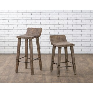 The Gray Barn Gold Creek Natural Distressed Wood Bar Stool - 35hx13.5wx13d