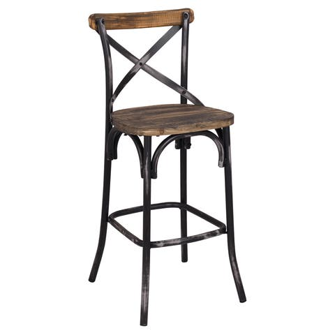 The Gray Barn Hidden Hill Antique Wood and Steel Barstool