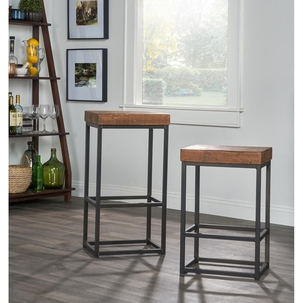Carbon Loft Borrelli Reclaimed Wood Bar Stool. Opens flyout.