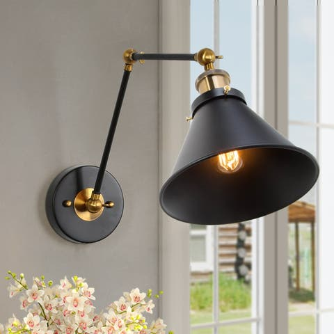 Black Wall Sconce Plug-in or Hardwire Lamp Adjustable Lighting