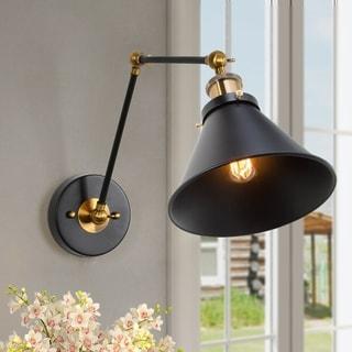 Black Wall Sconce Plug-in or Hardwire Lamp Adjustable Lighting