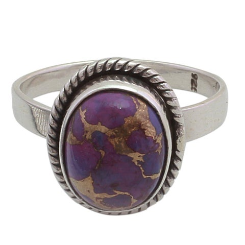 Handmade Sterling Silver 'Delightful Purple' Turquoise Ring (India)