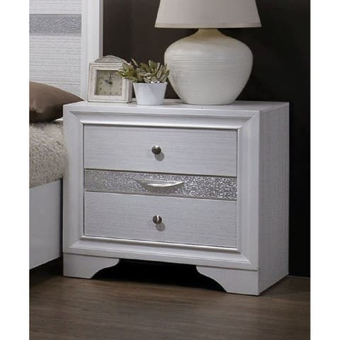 Furniture of America Relo Contemporary White Solid Wood Nightstand