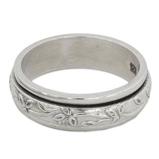 Link to Handmade Sterling Silver Spinning Leaves Ring (India) Similar Items in Men's Jewelry