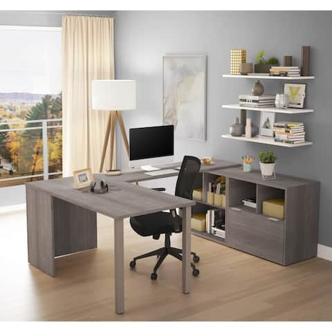 Bestar i3 Plus U-Desk with One File Drawer