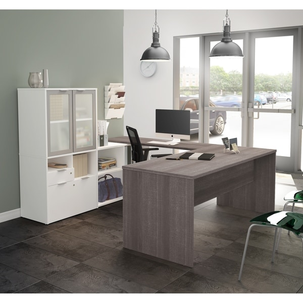 Bestar I3 Plus U Desk With Frosted Glass Door Hutch Free Shipping