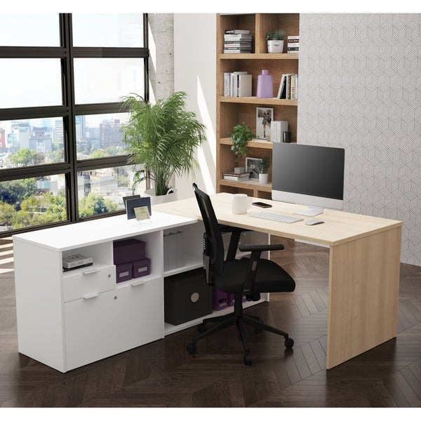 Bestar I3 Plus L Desk With Two Drawers