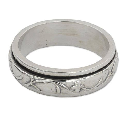Handmade Sterling Silver Spinning Vines .925 Sterling Silver Ring (India)