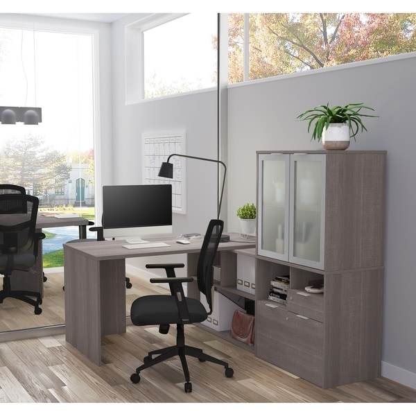 Bestar I3 Plus L Desk With Frosted Glass Door Hutch Free Shipping