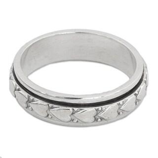 Handmade Sterling Silver Heart Meditation Ring (India)