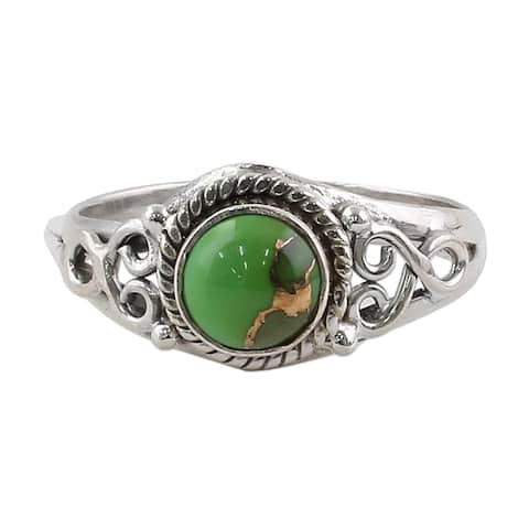 Handmade Sterling Silver Harmonic Green Turquoise Ring (India)