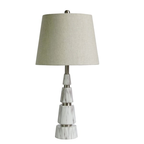 "Fangio Lighting's 6243 26"" Faux Marble & Metal Pyramid Table Lamp"