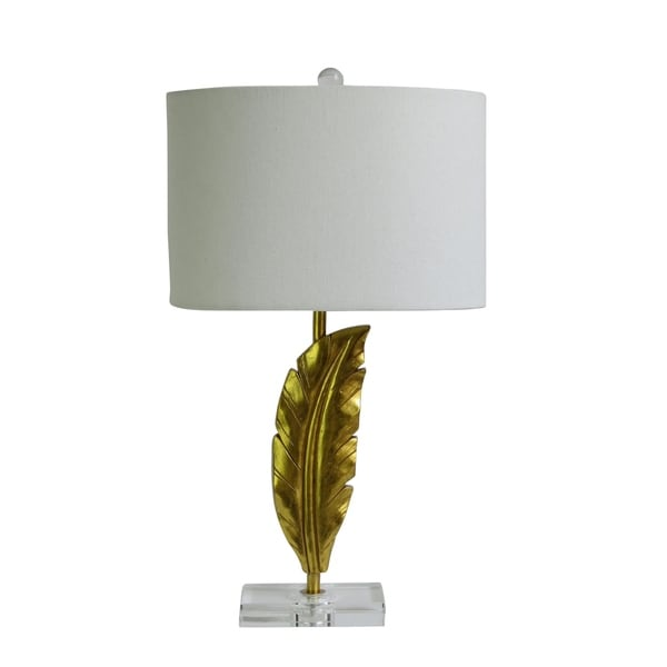 "Fangio Lighting's 6242 26"" Quill Gold Resin & Crystal Table Lamp"